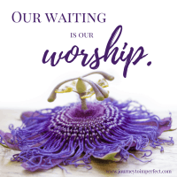 Our waiting is our worship.www.journeytoimperfect.com