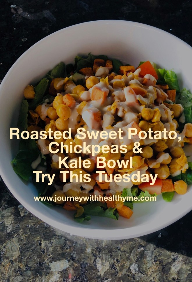 Roasted Sweet Potatoes Chickpeas and Kale Bowl