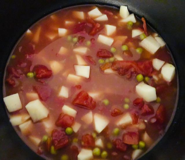 Aloo Matar Soup Cooking