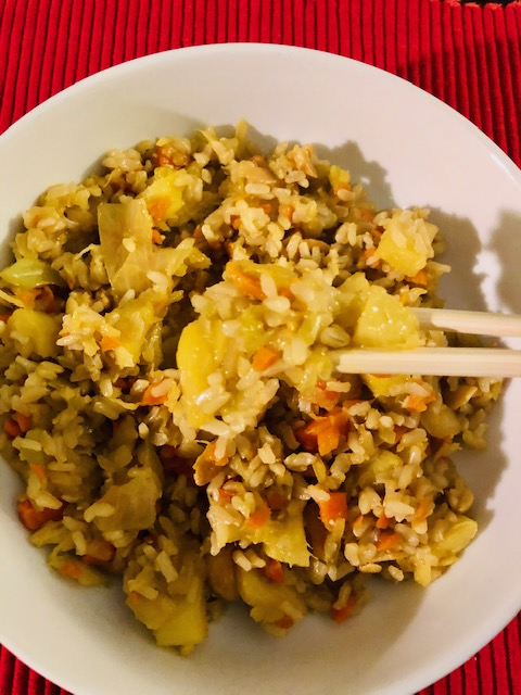 Vegan Pineapple Fried Rice with Chopsticks