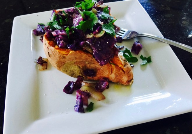 Eat the Rainbow Sweet Potato with Purple Cabbage