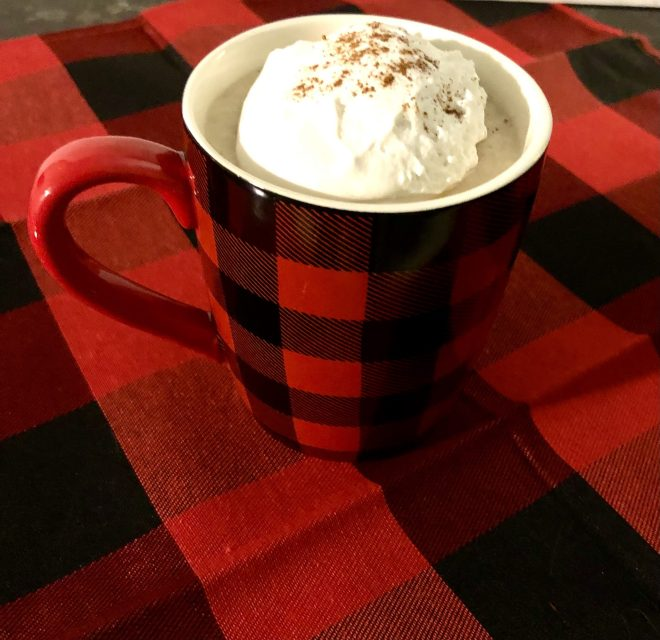 Vegan Egg Nog with coconut whipped topping