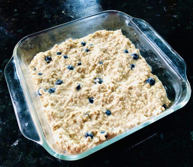 Lemon Blueberry Baked Oats into the oven