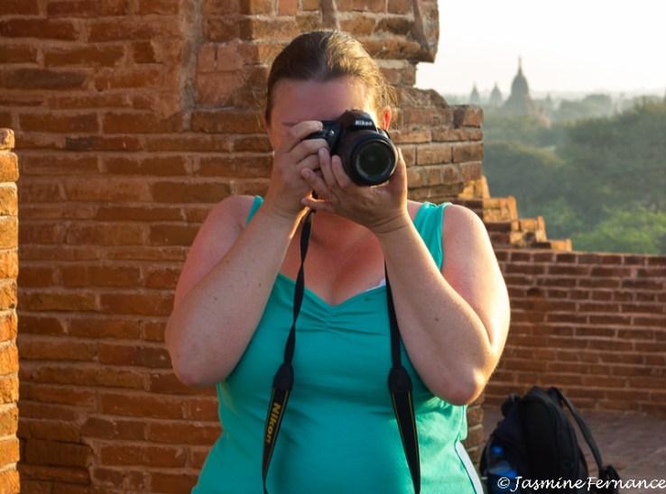 Jasmine taking a photo in Bagan, Myanmar