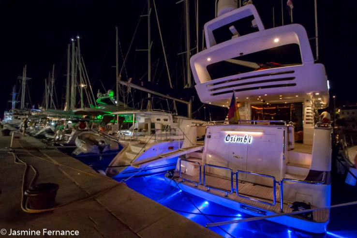 Luxury yachts in Hvar harbour