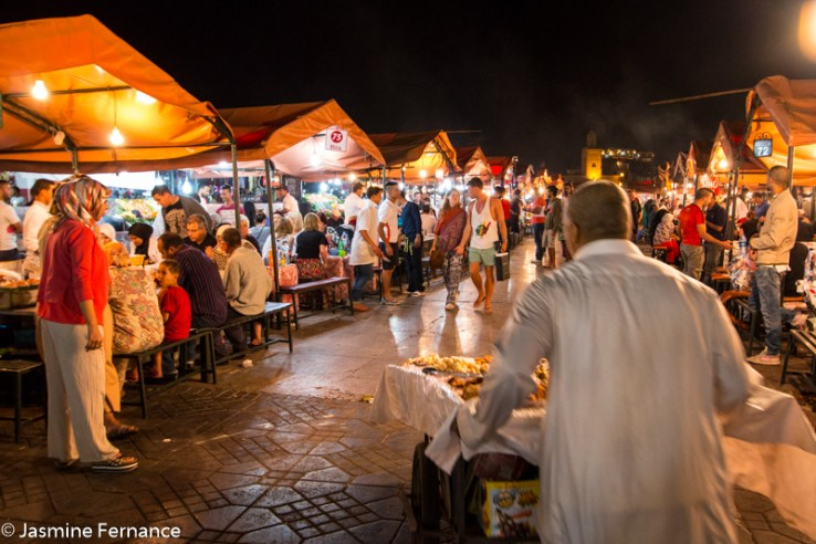 The food stalls of Jemaa el-Fna at night