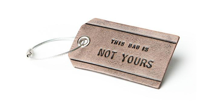 477164fee65e3 not yours Funny luggage ta. A stylish and classy leather tag ...