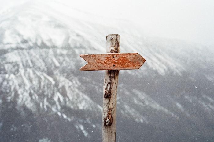 Arrow on a mountain
