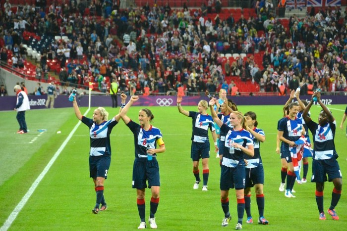 The GB women celebrating