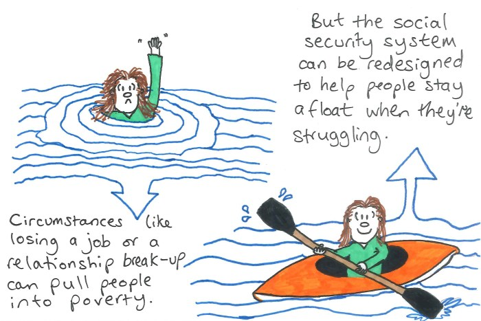 Illustration of woman drowning next to her in a canoe