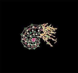 Jaime Moreno - Broche Galaxia : zafiro rosa, rubíes, esmeraldas, aguamarinas y topacios. Oro 18k.