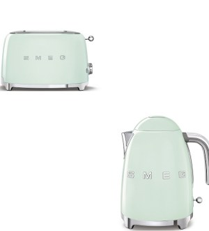 Smeg Pastel Green Kettle and Toaster Bundle