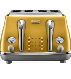 Delonghi Icona Capitals Yellow 4 Slice Toaster CTOC4003Y
