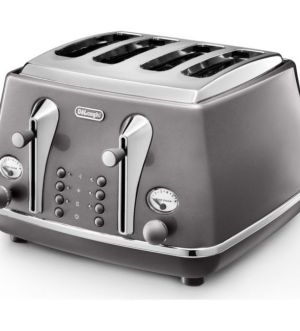 Delonghi Icona Metallics 4 Slice Toaster | Grey | CTOT4003.GY