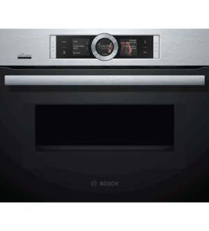 Bosch Serie 8 Built-in Compact 45cm Oven with Microwave Brushed Steel | CMG656BS6B