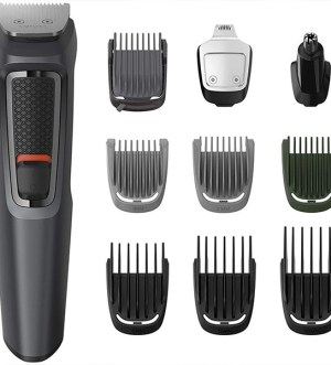 Philips 10-in-1 All-In-One Trimmer, Series 3000 Grooming Kit for Beard, Hair & Body with 10 Attachments, Including Nose Trimmer, Self-Sharpening Metal Blades | MG3747/33