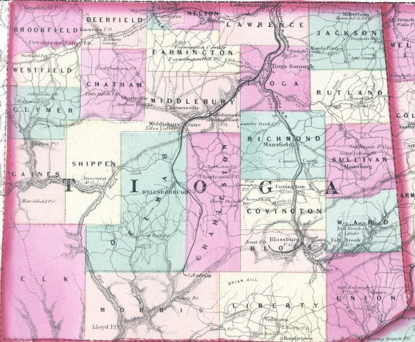 1890s Map of Tioga County PA This was Scanned from the A Seven County Map