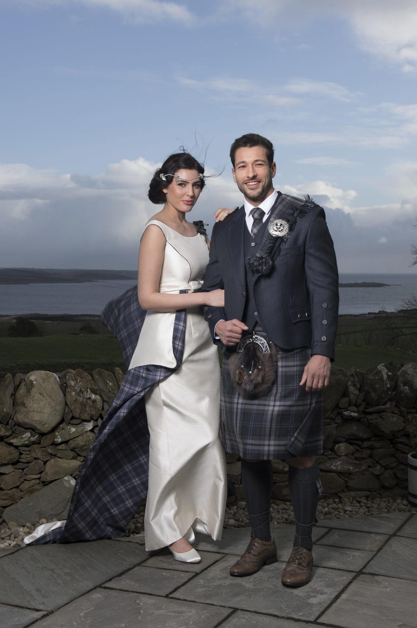 Tartan wedding dress matching kilt