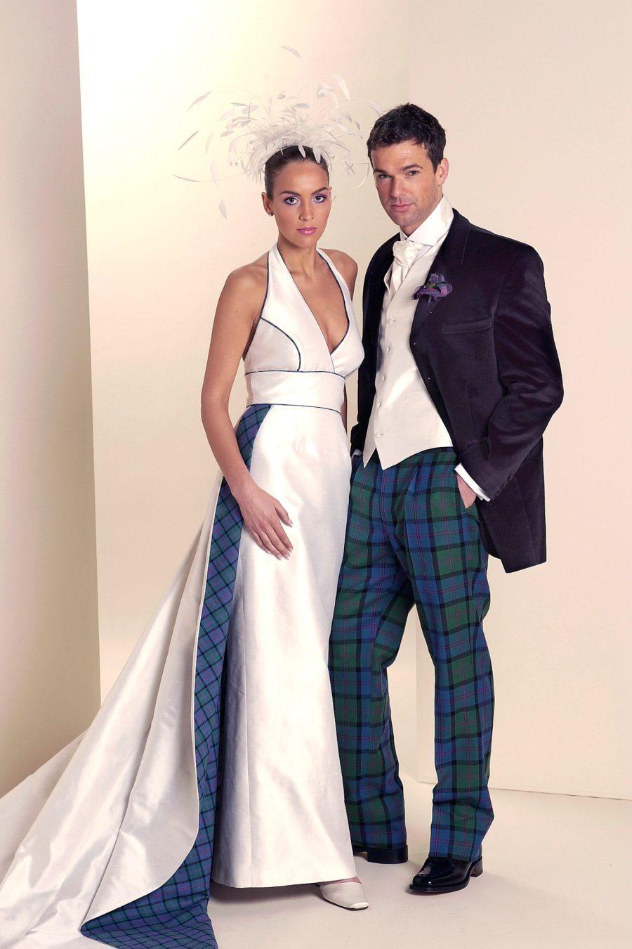 Scottish wedding dress with tartan train