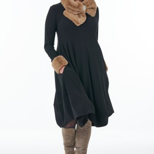 Black long sleeved V-neck bubble dress