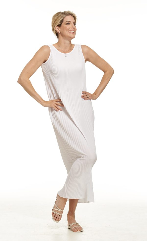 Sleeveless Pleated Waffle Dress in White in Casual Chic Collection