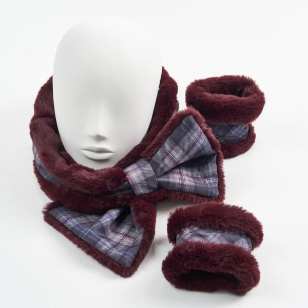 Burgundy Faux Fur with Islay Mist Silk Tartan Collar Cuffs