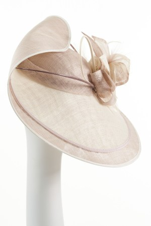 Large Double Brim Hat in Pebble and Ivory