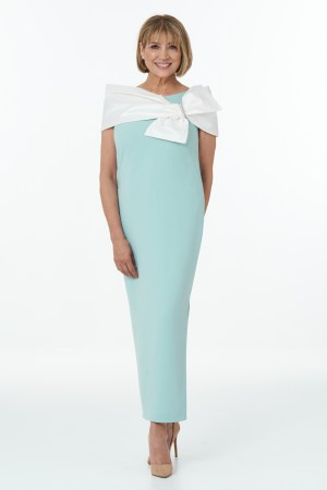 Mint straight dress with side slits and silk Dupion Wrap