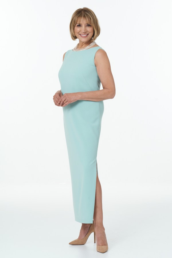 Mint straight dress with side slits