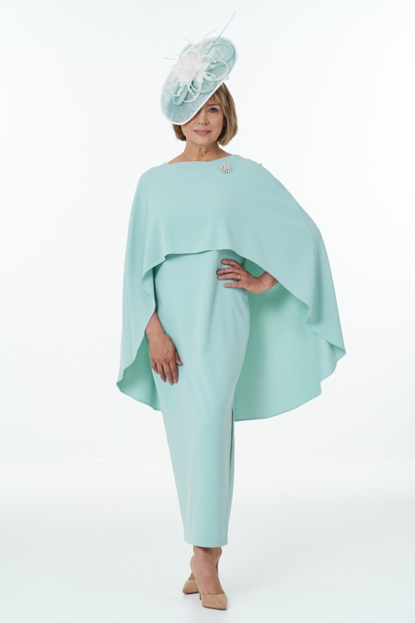 Mint straight dress with side slits and cape