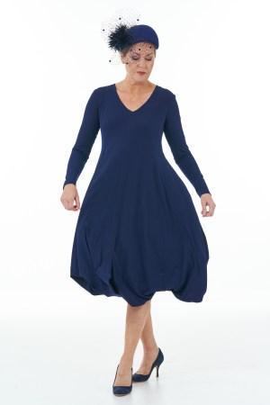 Long Sleeve Knit Bubble Dress in Navy