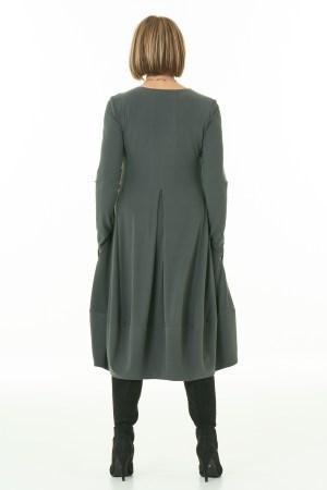 Long Sleeve Knit Bubble Dress in Olive