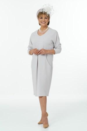 V-Neck Dolman Sleeve Short Dress with Deep Pockets in Pebble