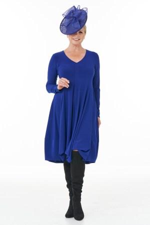 Long Sleeve Knit Bubble Dress in Royal