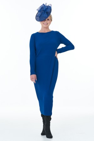 Long Sleeved Pleated Knit Dress in Royal