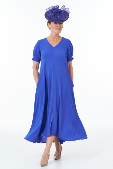 Short Sleeved V-Neck Flared Panel Dress in Royal