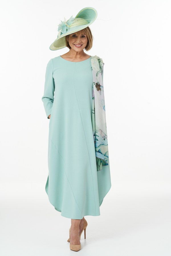 Contemporary Ankle Length Dress with Shirt Tail Hem in Mint