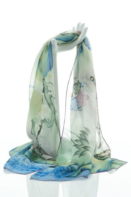 Japanese Kimono Crane Silk Chiffon Scarf