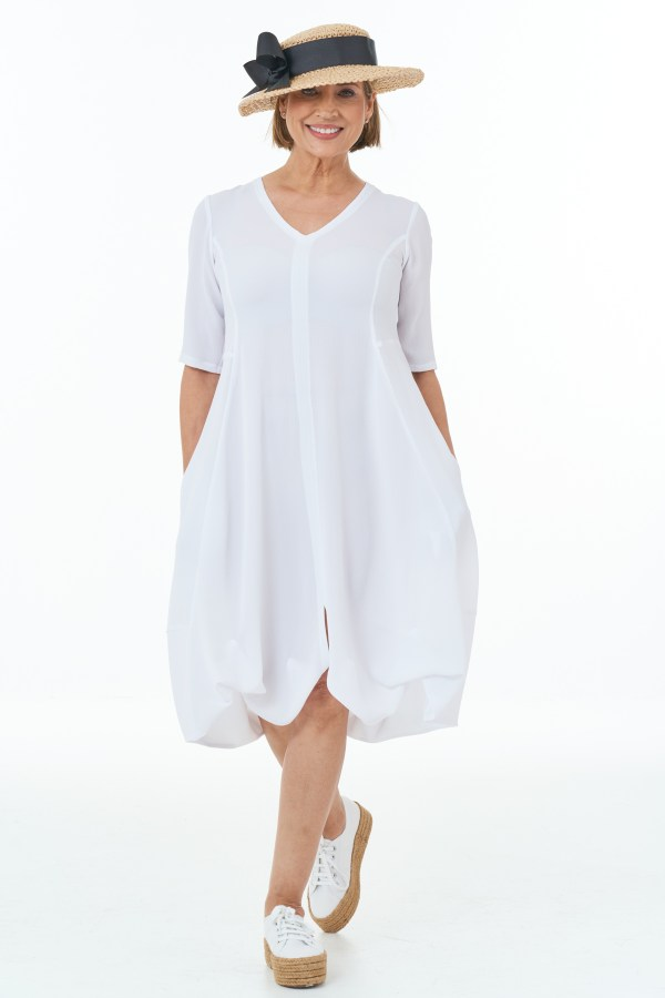 Short Sleeved Waffle Bubble Dress in White Casual Chic Collection