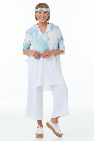 Waffle Cropped Trousers in White and Waffle Shirt in White with Fine Art Silk Top