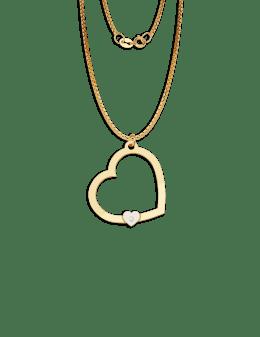 34585b175e0c Dije de corazón en oro con circonita