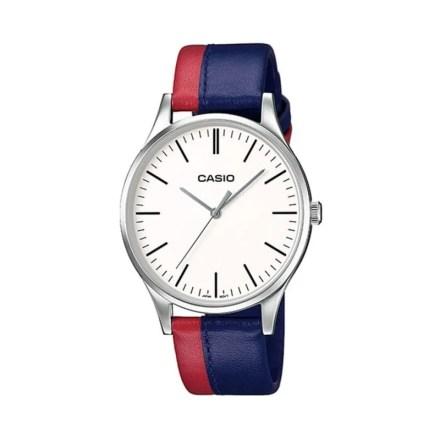 Reloj Casio MTP-E133L-2EEF de hombre NEW con caja de acero y correa de piel azul-roja Casio Collection
