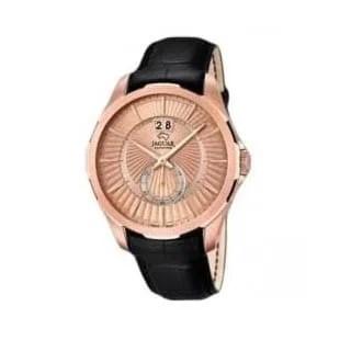 Reloj Jaguar J683/1 de hombre NEW con caja de acero ip oro rosa de 18 K y correa de piel vacuno