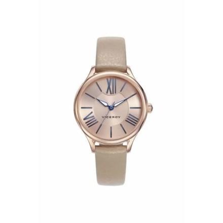 Reloj Viceroy 461084-93 de mujer NEW con caja de acero ip oro rosa y correa de piel beige