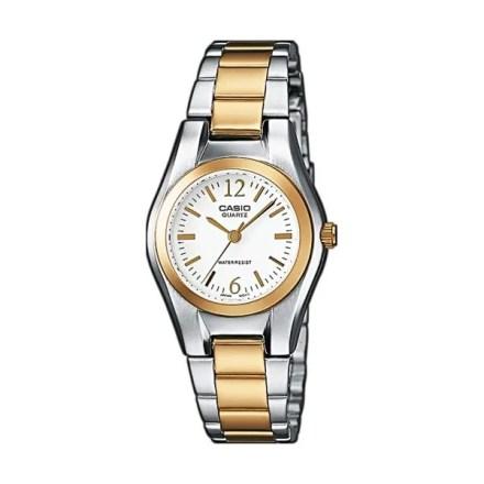 Reloj Casio de mujer LTP-1280PSG-7AEF con caja de latón, correa de acero inoxidable y cierre a presión