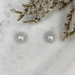 Pendientes perla con dos orlas de cironitas