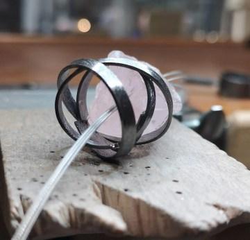 colgante plata cuarzo rosa