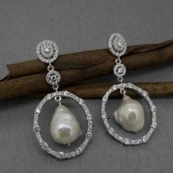 pendientes de novia en plata de ley y perlas
