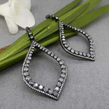 pendientes de novia con zirconitas grises