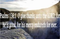 Psalms 136 1 O give thanks unto the LORD for he is good for his mercy endureth for ever.